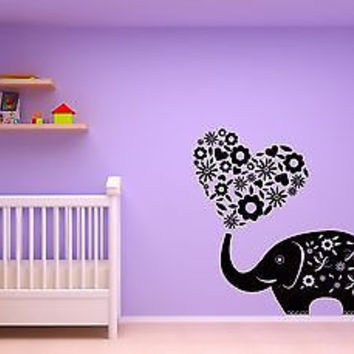 Wall Sticker Elephant Flowers Hearts Romantic Decor for Bedroom z1428