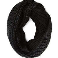 FOREVER 21 Speckled Knit Infinity Scarf Black One