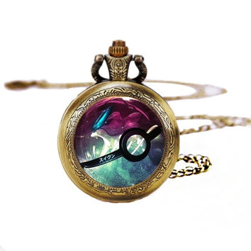 Pokeball Suicune Pocket Watches Necklace,Gift Necklace,Pokemon Necklace,For Unisex Y210 = 1956343044