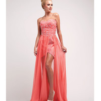Coral Satin & Stone High-Low Gown 2015 Prom Dresses
