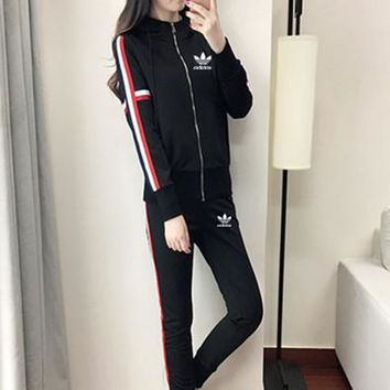 """Adidas"" Women Casual Multicolor Stripe Hooded Long Sleeve Zip Cardigan Trousers Set Two-Piece Sportswear"