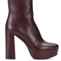 Leather plateau ankle boots