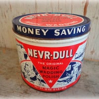 1941 nevr-dull magic wadding polish tin / car & appliance cleaner container / vintage advertising / gas station auto petroliana / man cave
