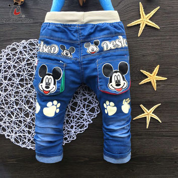 Autumn Fashion Kids Jeans Cute baby Cartoon pants Toddler boys Girls Elastic Straight trousers For Children 2-4 Years