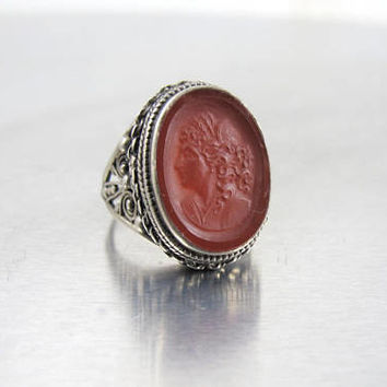 Sterling Carnelian Intaglio Ring, Arts & Crafts Era Sterling Silver Carnelian Intaglio Cameo Jewelry, Carnelian Cameo, Size 7
