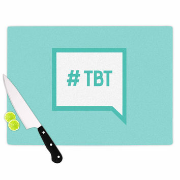 "KESS Original ""Throw Back Thursday"" Teal White Cutting Board"