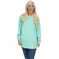Pocket Logo Sweatshirt in Mint by Lauren James - FINAL SALE