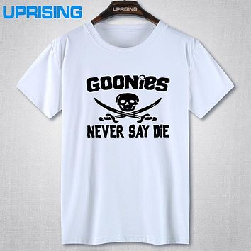 GOONIES NEVER SAY DIE T Shirts Men Hip Hop Man Rock T-Shirt Cotton O Neck Mens Casual Short Sleeves Tops Tees Free Shipping