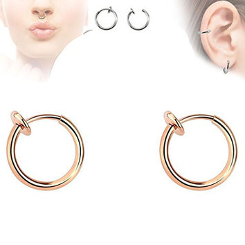 Pair of Rose Gold Titanium Ion Color Spring Action Fake Septum Rhodium Plated Brass Rings Ear Cuff F22