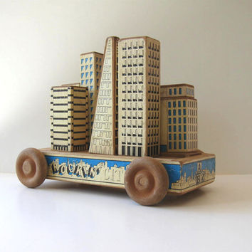 Vintage 1989 San Francisco Earthquake Pop Art Wooden Pull Toy Travel Souvenir
