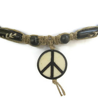 Peace Sign Necklace, Hemp and Bone Choker, Macrame Adjustable Necklace, Hippie Boho Fashion