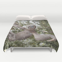 Tree hugging three toed Sloth Duvet Cover by Bruce Stanfield Photographer