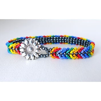 Sunshine Rainbow Pride - Chevron Tennis Bracelet - Antiqued Silver Sunflower Button - Gay Pride Support Jewelry