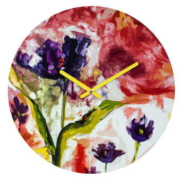 Ginette Fine Art Black Tulips Round Clock