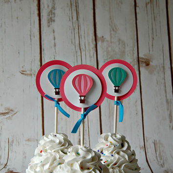 Hot Air Balloon Themed Birthday Party Cupcake Toppers (set of 12)