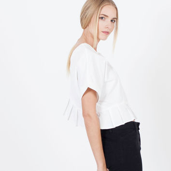 Eliza Pleated Crop Blouse (White)