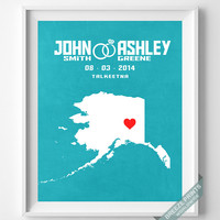 Wedding, Print, Alaska, Customized, Anniversary, Couple, Personalized, Gift, Map, Custom, Wall Art, Home Decor, Marriage, Love [NO 3]