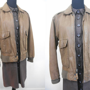 80s, A-2 Flight Bomber Style Jacket by Reed, Mens (You Can Wear It Too Ladies), Zip Up, Soft Brown Leather, Size Medium - Fall, Winter