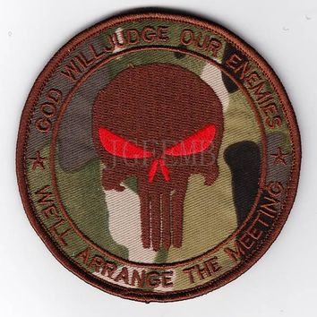 Multicam U.S.ARMY SealTeam6 PUNISHERS God Will Judge Our Enemies morale tactical military Embroidery patch Badges