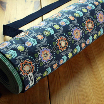 Handmade Yoga Bag Pilates Mat Bag in Navy Blue Dutch Floral MADE TO ORDER