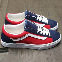 Vans Fashion Casual Canvas Old Skool Flats Sneakers Sport Shoes Red +Navy blue G-A0-HXYDXPF