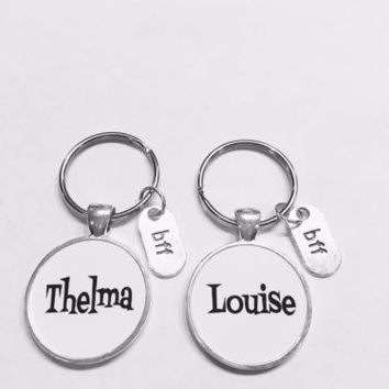 Best Friends Thelma Louise Partners In Crime BFF Christmas Gift Keychain Set