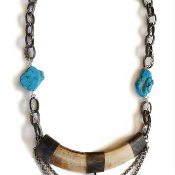 Natural Tusk Pendant Necklace With Turquoise Beads And Small Silver Chain Woven Into Large Chain, Boho Western Bone Jewelry, Statement Piece