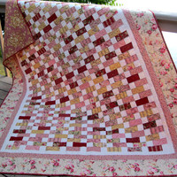 Ooh La La Paris stepping stones 71x88 twin quilt in soft pink and yellow
