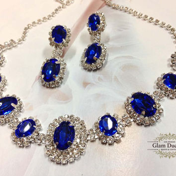 Wedding jewelry, bridesmaid jewelry set, Bridal necklace earrings, vintage inspired rhinestone bridal statement, Royal blue crystal jewelry set