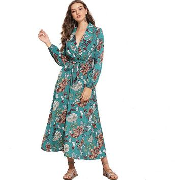 Fall Long Sleeve Boho V Neck Floral Belted Maxi Dress with Lantern Sleeves