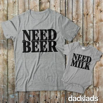 Need Beer Need Milk Matching Father Son Shirts