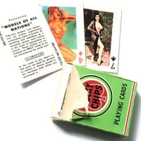 vintage poker playing cards with sexy women from 1950 Lucky Chips