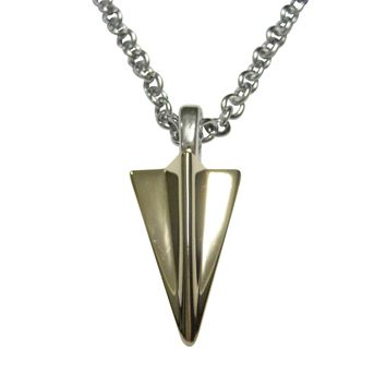 Gold Toned Paper Airplane Pendant Necklace
