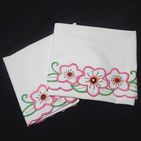 1970s Vintage Hand Embroidered Pillowcases, 32 x 21 In., Standard, Queen Size, Pink, Green, Orange, Black Flower Embroidery, Vintage Linens