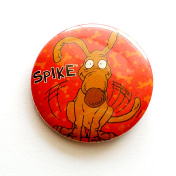Vintage Spike Rugrats Button Dog Cartoon Nick Nickelodeon The Splat Pieces of Flair Brooch Pin 1990s 90s Kids
