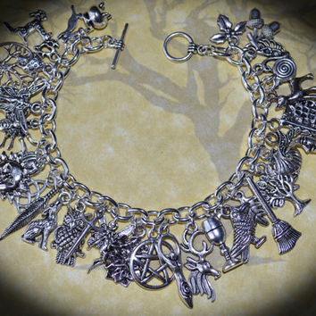 Pagan Charm Bracelet with 32 Charms - Wicca, Witch, Solstice, Equinox, Handmade, Pentacle