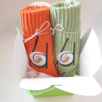 Sushi and Chopsticks  Embroidered Dishcloths Two Pack Pair Orange and Green