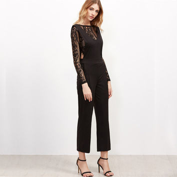 One Piece Jumpsuit  Lace Zipper Back