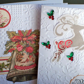 Embossed Christmas Card Set & Gold Foil Envelope Seals - Stamped Greeting Cards ( Set of 4 ) Glitter Gift Bag