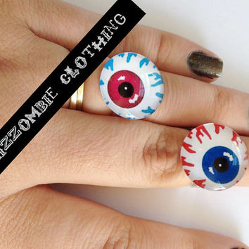 creepy glass  eyeball  Ring  adjustable ring, silver plated Limited