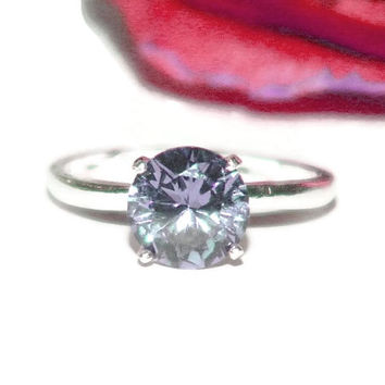 Alexandrite Engagement Ring, Ring With 8mm Stone, Sterling Silver Ring With Stone