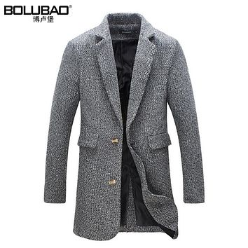 New Winter Warm Men Long Coat Brand-Clothing Fashion Wool Blends Overcoat For Men Casual Slim Fit Trench Coat Men