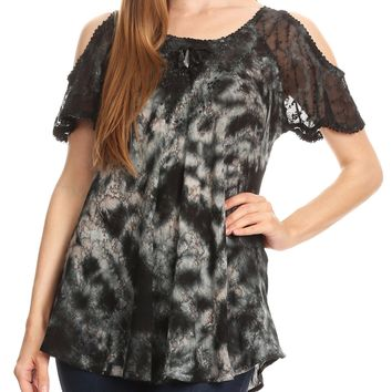 Sakkas Aziza Womens Cold Shoulder Tie-dye Blouse Top with Corset and Embroidery