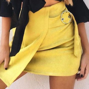 Evicka Belted Suede Skirt