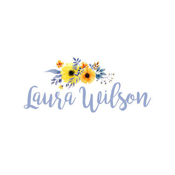 Custom Logo Design Premade Logo and Watermark for Photographers and Small Crafty Boutiques Hand Drawn Flower and Text. VD002
