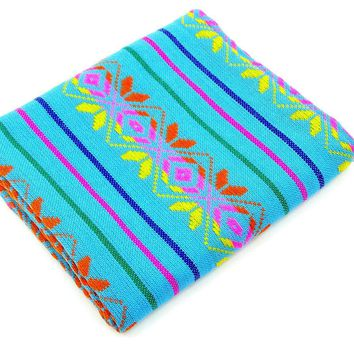 Colorful tribal fabric, Tela mexicana, Mexican party decorations. Cinco de Mayo, Fiesta Mexican, Birthday Decor.
