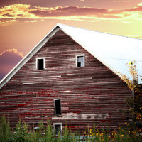 Country Vintage Barn, Digital Art Print, Home Decor, Ready to Frame Photo, Wall Hanging, Nebraska Photograph,Orange Clouds,Sunset, Farm