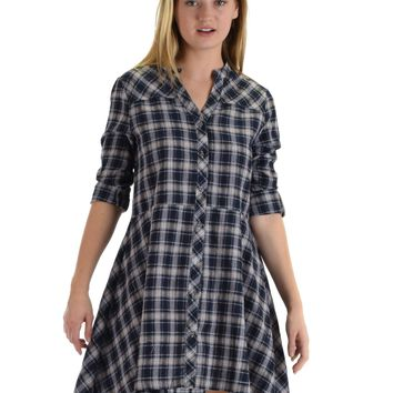 SL4276 Navy 3/4 Sleeve Plaid Dress With Button Front And Roll-Up Sleeves