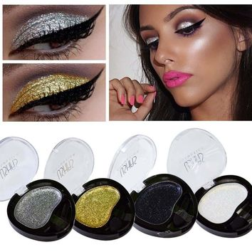 Sexy New Eyeshadow Single Silver Gold Metallic Glitter Eyes Shadow Palette Makeup Tools