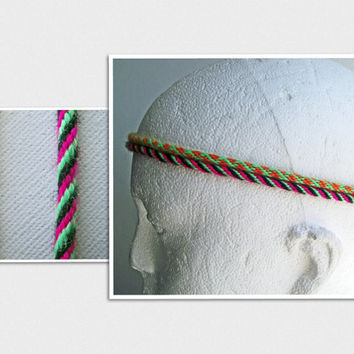 Hair Braids Or Head Bands, Set of Two Neon Bright Dreads,  Hippie Extensions, Festival Atebas, Braided Hair Falls, Tribal Kumihimo Acrylic